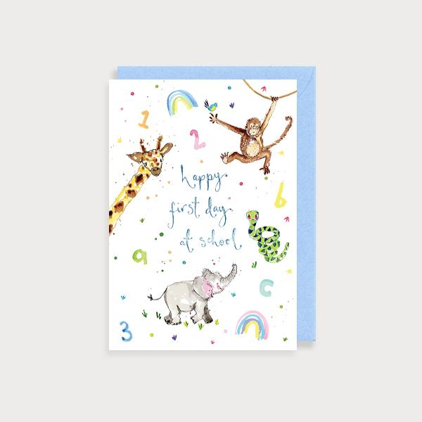Image of illustrated card with rainbows a baby elephant, snake, giraffe and a monkey and the caption happy first day at school