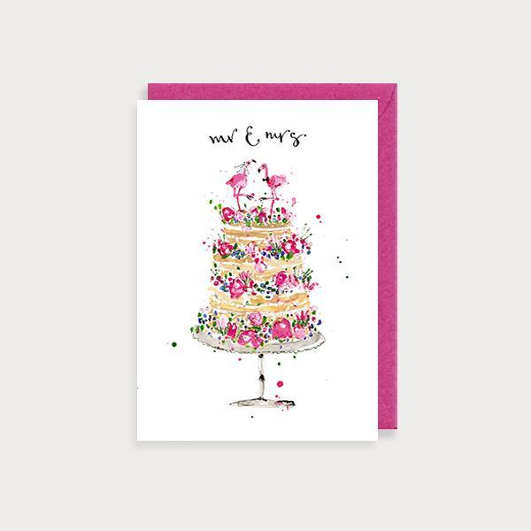 Image of ilustrated wedding card with a floral wedding cake with 2 flamingo toppers and the caption Mr and Mrs