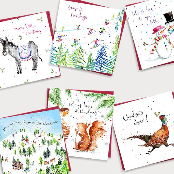 Image of bundle of illustrated Christmas cards featuring a selection of six Christmas designs