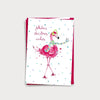 Image of bundle of illustrated Christmas cards featuring a festive giraffe, alpaca and flamingo