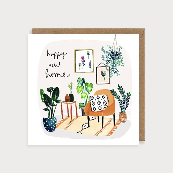 Image of illustrated new home card of living room with plants and the caption Happy New Home