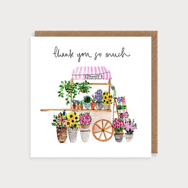 Image of illustrated card with a flower cart and the caption Thank You so Much
