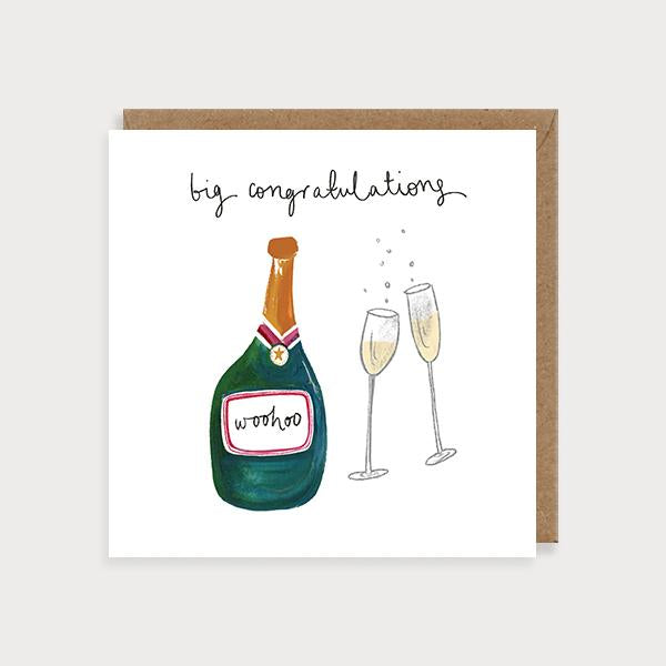 Image of illustrated card with a champagne bottle and glasses and the caption Big Congratulations