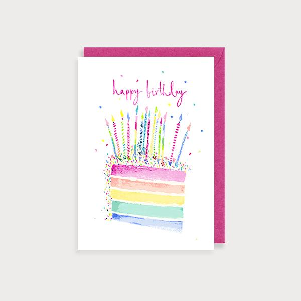 Image of illustrated birthday card with a slice of rainbow cake and candles and the caption Happy Birthday