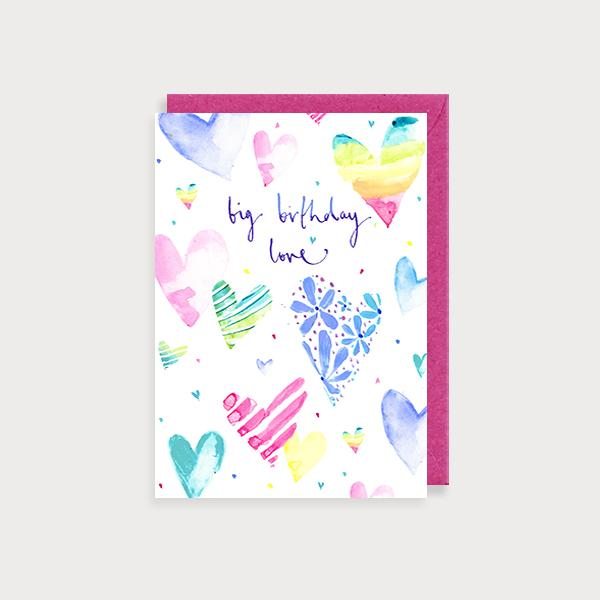 Image of illustrated birthday card with rainbow coloured hearts and the caption Big Birthday Love