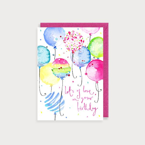 Image of illustrated birthday card with multicoloured balloons and the the cpation Lots of Love on Your Birthday