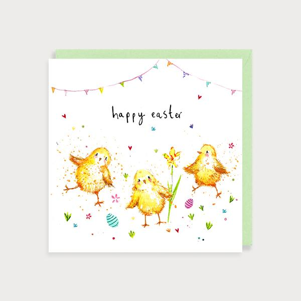 Image of illustrated card with the chicks and the caption Happy Easter