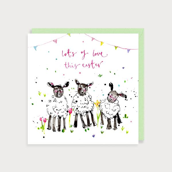 Image of illustrated card with three lambs and the caption Lots of Love This Easter