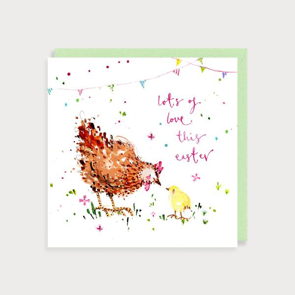 Image of illustrated card with a chicken and a chick and the caption Lots of Love This Easter