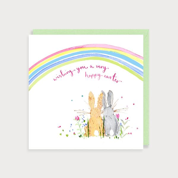 Image of illustrated card with a  rainbow and two bunnies and the caption Wishing you a very Happy Easter
