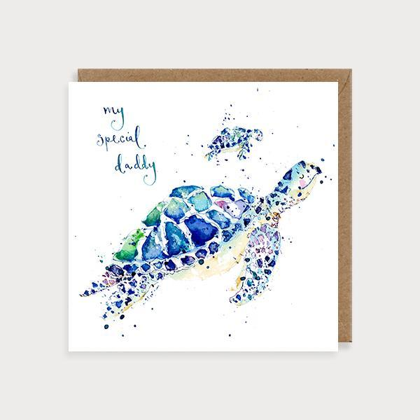 Image of illustrated father's day card with a big turtle and a baby turtle and the caption My Special Daddy