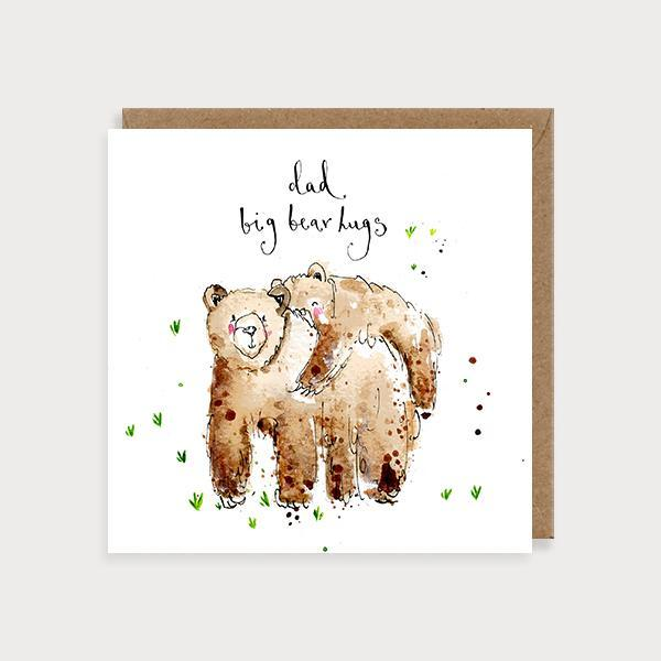 Image of illustrated father's day card with a baby bear sitting on a big bear's back and the caption Dad Big Bear Hugs