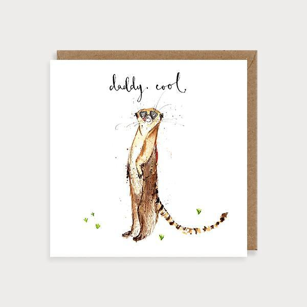 Image of illustrated father's day card with a meerkat and the caption Daddy Cool