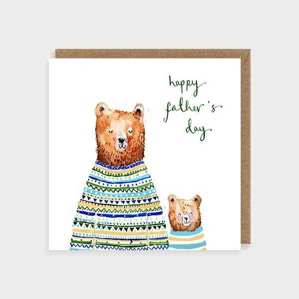 Image of illustrated father's day card with a big bear and baby bear wearing jumpers and the caption Happy Father's Day