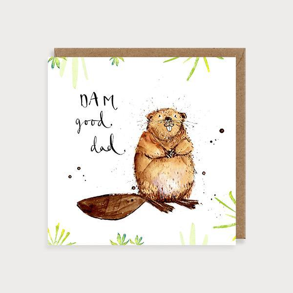 Image of illustrated father's day card with a beaver and foliage and the caption DAM Good Dad