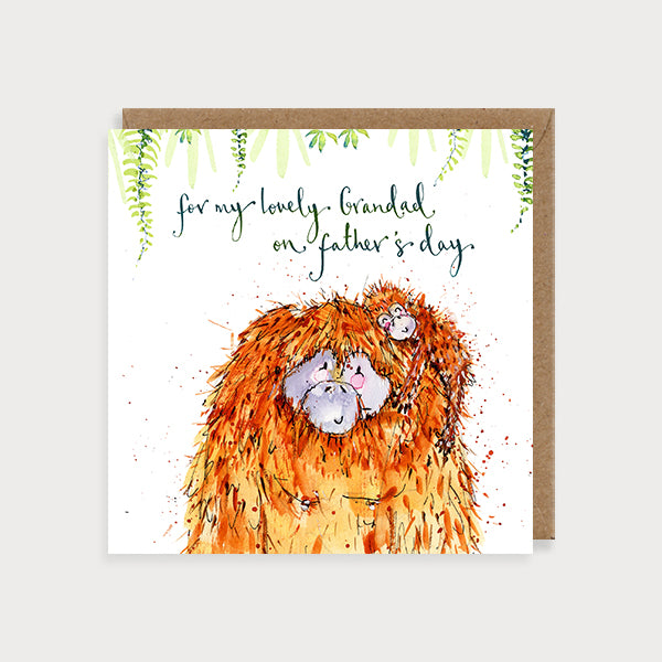 Image of illustrated grandad father's day card of a baby and big orangutan cuddling and the caption For my Lovely Grandad on Father's Day