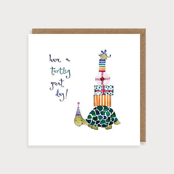 Image of illustrated birthday card with a turtle with presents on its shell and the caption Have a Turtly Great Day