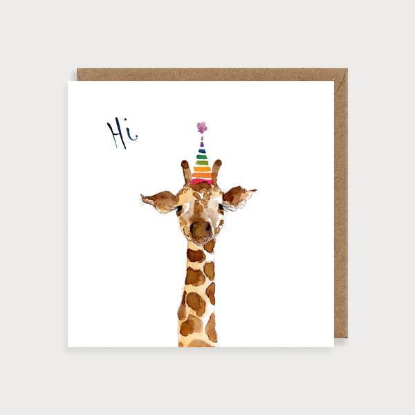 Image of illustrated birthday card with a giraffe in a birthday card and the caption Hi