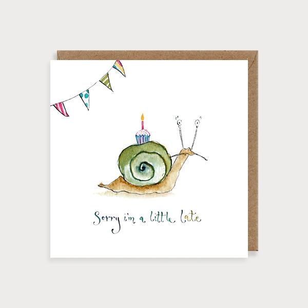 Image of illustrated card with a snail and the caption sorry I'm a little late