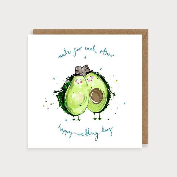 Image of ilustrated same sex gay wedding day card with 2 avocados wearing tophats and the caption Made For Each Other- Happy Wedding Day