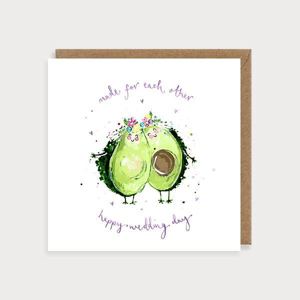 Image of ilustrated same sex wedding day card with 2 avocados wearing floral headdresses and the caption Made For Each Other- Happy Wedding Day