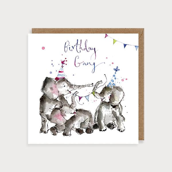 Image of illustrated birthday card with elephants with party hats and bunting and the caption Birthday Gang