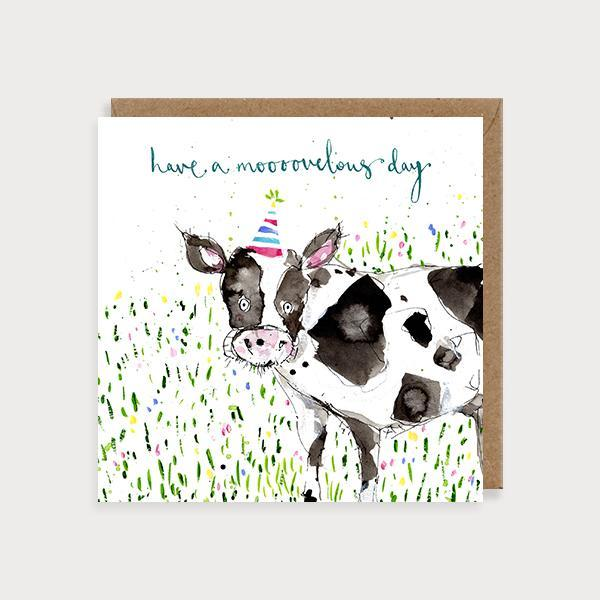 Image of illustrated birthday card with a cow in a party hat and the caption Have aa Mooooovelous Day