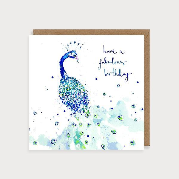 Image of illustrated birthday card with a peacock and the caption Have a Fabulous Birthday