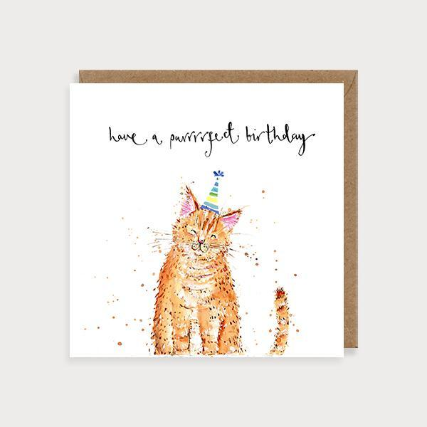 Image of illustrated birthday card with a ginger cat in a party hat and the caption Have a Purrfect Birthday