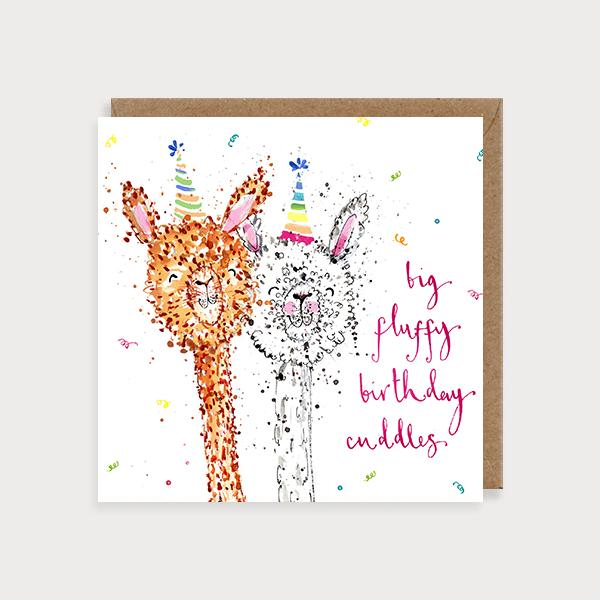 Image of illustrated birthday card with 2 alpacas in party hats and the caption Big Fluffy Birthday Cuddles