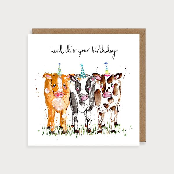 Image of illustrated birthday card with 3 cows in party hats and the caption Herd It's Your Birthday