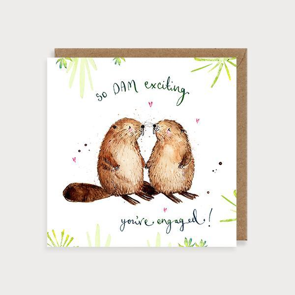 Image of illustrated engagment card of 2 beavers and a leaf pattern and the caption so DAM exciting You're Engaged