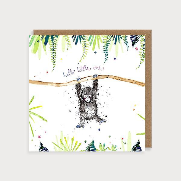 Image of illustrated new baby card with a baby gorilla hanging off a branch and the caption Hello Little One