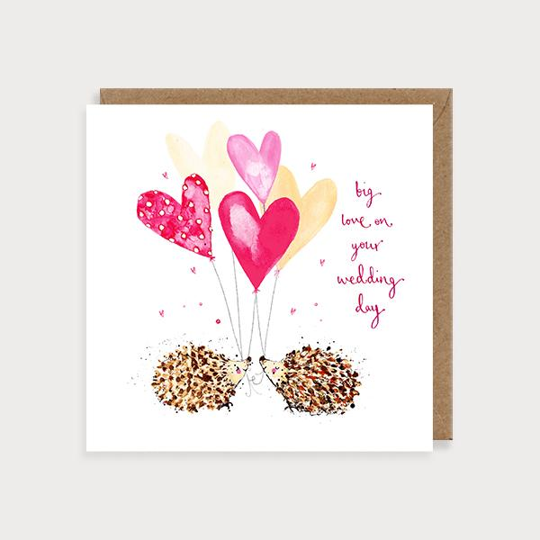 Image of ilustrated wedding card with 2 hedgehogs holding heartshaped balloons and the caption Big Love on Your Wedding Day