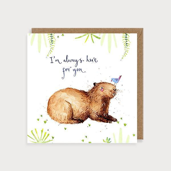 Image of illustrated friendship card with a capybara and bird and the caption Here for You