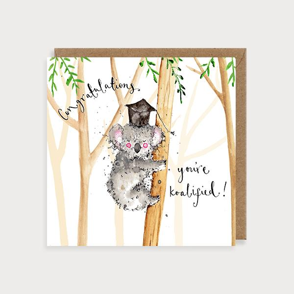 Image of illustated congratulations graduation card with a koala bear on a tree wearing a graduation hat and the caption Congratulations You're Koalified
