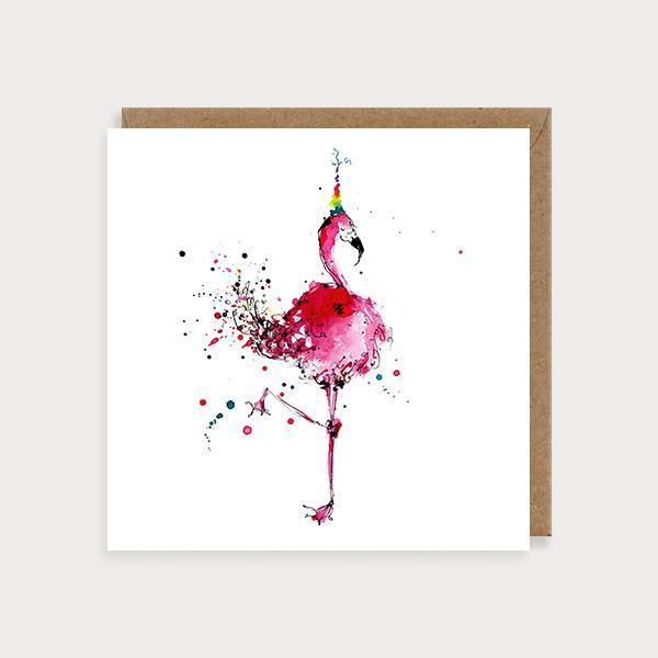 Image of illustrated blank birthday card with a flamingos wearing a party hat