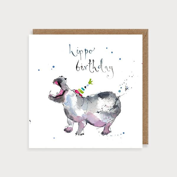 Image of illustrated birthday card with a hippo in a party hat and the caption Hippo Birthday