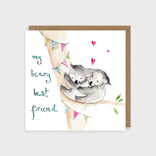 Image of illustrated best friend card with 2 koala bears on a tree and the caption My Beary Best Friend