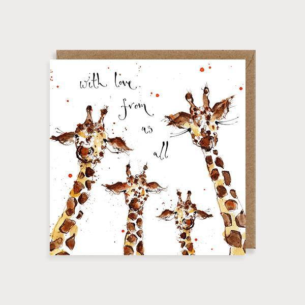 Image of illustrated birthday or thinking of you card with 4 giraffes and the caption With Love From Us All
