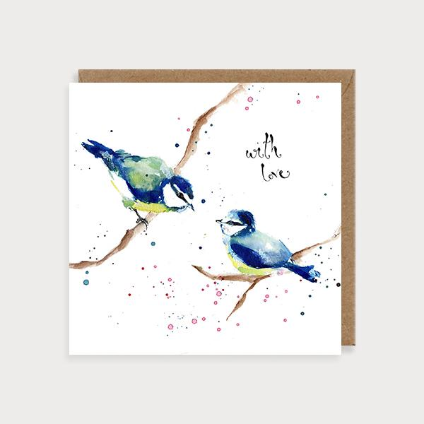Image of illustrated birthday or friendship card with 2 blue tits and the caption With Love