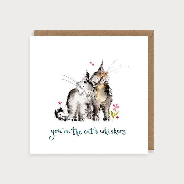 Image of illustrated anniversary or valentine's day card with 2 cats and the caption You're the Cats Whiskers