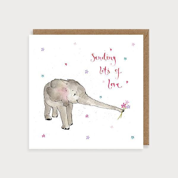 Image of illustrated sympathy card with an elephant carrying flowers in its trunk and the caption Sending Lots of Love