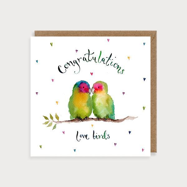 Image of ilustrated wedding card with 2 love birds sitting on a branch and the caption Congratulations Love Birds