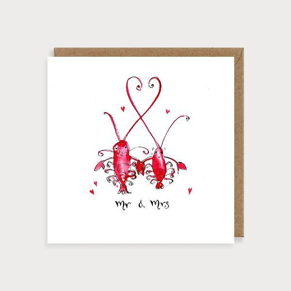 Image of ilustrated wedding card with 2 lobsters holding hands and the caption Mr & Mrs
