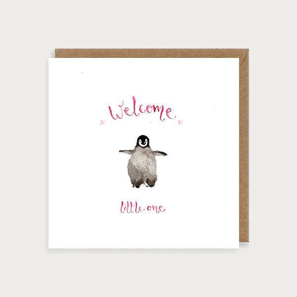 Image of illustrated new baby girl card with a penguin and the caption Welcom Little One