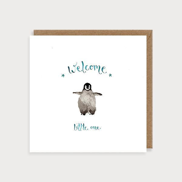 Image of illustrated new baby boy card with a penguin and the caption Welcom Little One