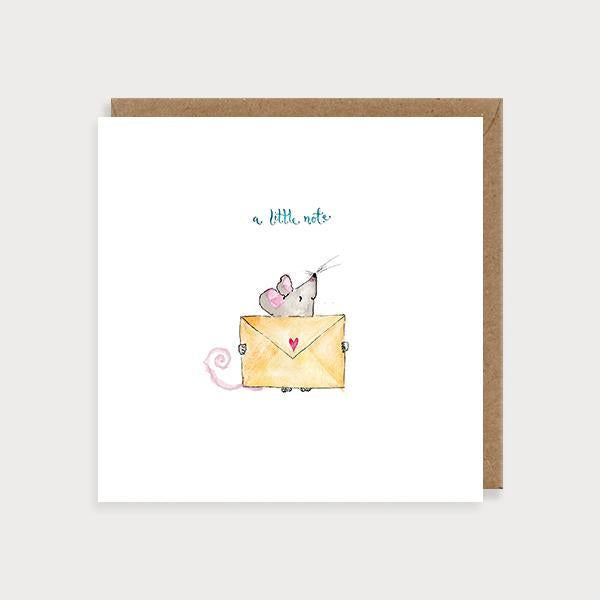 Image of illustrated just to say card with a mouse holding an envelope and the caption A Little Note