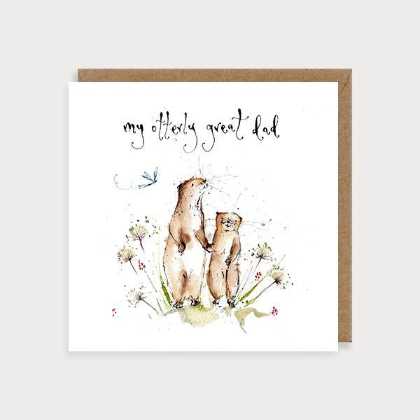 Image of illustrated father's day card with a big and baby otter and the caption My Otterly Great DAD