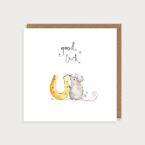 Image of illustrated good luck card with a mouse holding a horse shoe